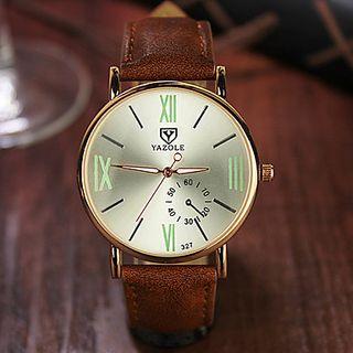 reloj hombre pulsera piel marron clasico analogico