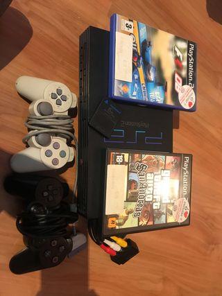 Playstation 2 + 2 mandos + 2 juegos