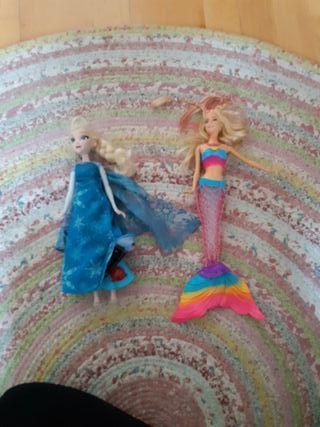 Muñeca Frozen y Barbie sirena