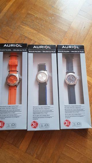 3 relojes Auriol sin estrenar unisex