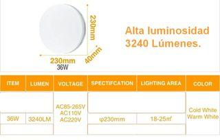 Lámpara/Plafón Luz Led 36W/3240 Lúmenes.