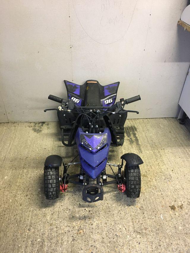 Two FunBikes 50cc mini moto quad bikes.
