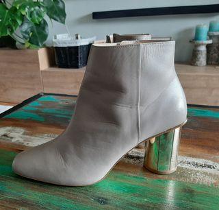 Botín gris Zara Piel