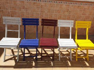 5 sillas madera color