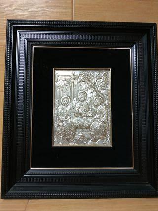 Cuadro realizado en plata repujada