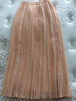 Falda plisada larga rosa palo