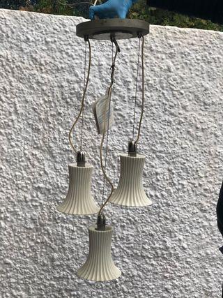 Lámpara 3 tulipas cerámica