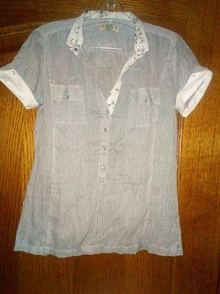 camisa mujer manca corta rallas