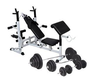 Banco musculación con soporte pesas, pesas y mancu