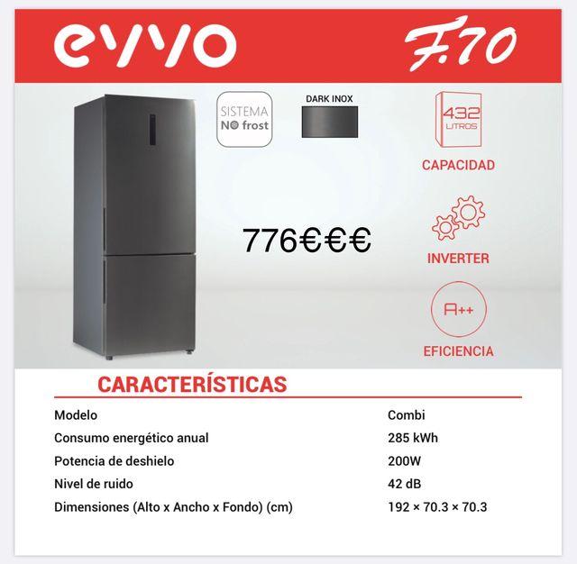 FRIGORÍFICO EVVO A++ TOTAL NO FROST.. 70CM ANCHO