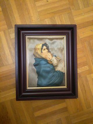 Cuadro religioso virgen Maria y niño en seda