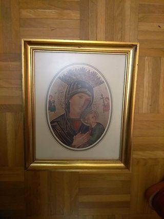 Cuadro retablo de la virgen con niño marco dorado