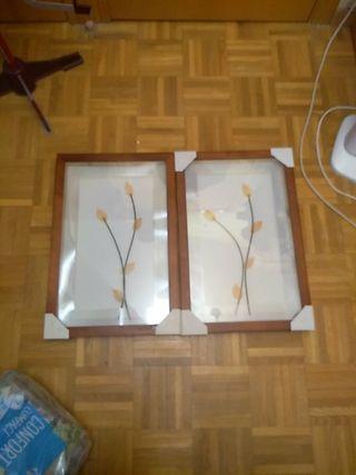 2 cuadros de madera con flores orientales