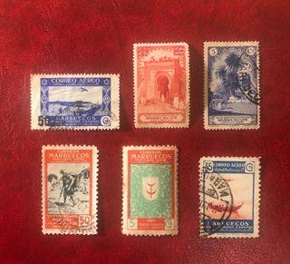 Lote 6 sellos Protectorado Español de Marruecos