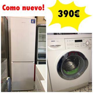 Pack económico nevera + lavadora 6kg con garantía