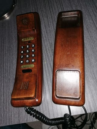 teléfono antiguo de madera solac telecom