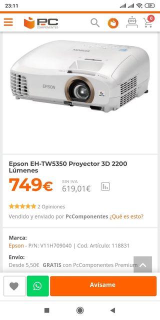 Reproductor Epson 3d 2200 lúmenes