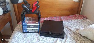 playstation 4, base carga, 2 mandos y juegos
