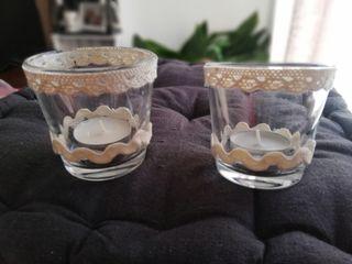 2 portavelas cristal,