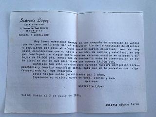 Antigua carta de publicidad SASTRERÍA LÓPEZ
