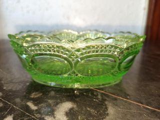 cuenco cristal antiguo verde