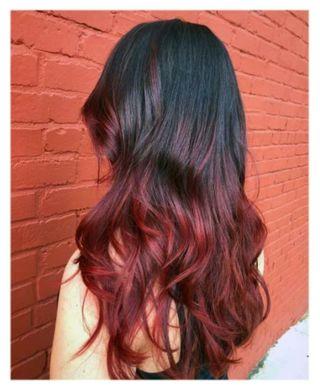 Tintes pelo:baño color negro azulado+rojo intenso