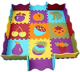 Lavable | Alfombrilla de Juego Infantil Gomaespuma EVA qqpp Puzzles de Suelo,Alfombra Puzzle de 18 Piezas Colores Resistentes Rompecabezas | Blanco y Negro 30*30*1CM