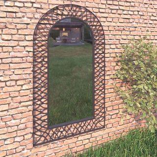 Espejo de pared de jardín arqueado 60x110 cm negro
