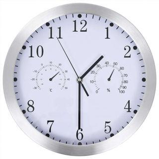Reloj de pared de cuarzo higrómetro y termómetro
