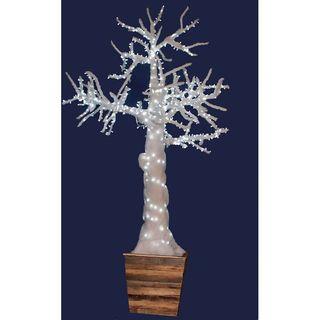 Árbol guata blanco con luz led con macetero r9190