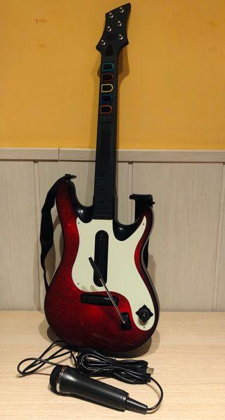 Guitarra y micrófono + Juego BAND HERO Ps2