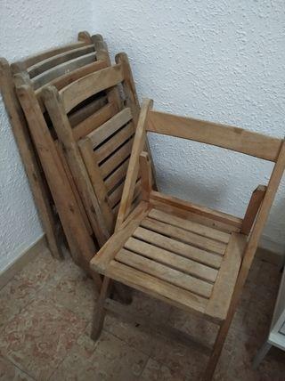 6 sillas de madera plegables