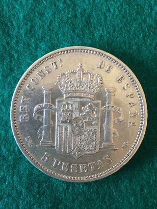 5 Pesetas Alfonso XII 1879 Plata