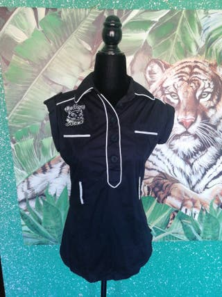 Blusa camisa talla M negra bordada gato letras bla