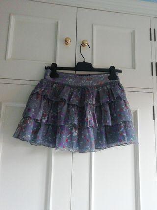 Minifalda NUEVA falda talla 36 flores gris