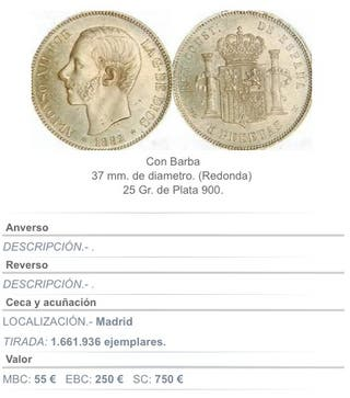 5 Pesetas Alfonso XII 1882 Plata