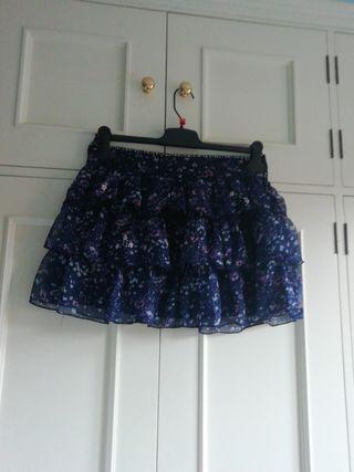 Minifalda NUEVA falda talla 40 flores azul mar