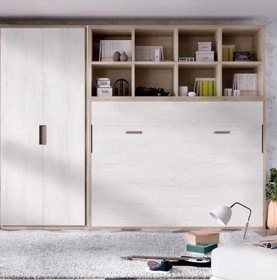 Cama abatible con estanteria y armario rm