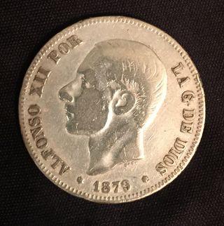 2 Pesetas de Alfonso XII año 1879 Plata