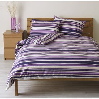 Wilko Purple Striped Double Duvet Set