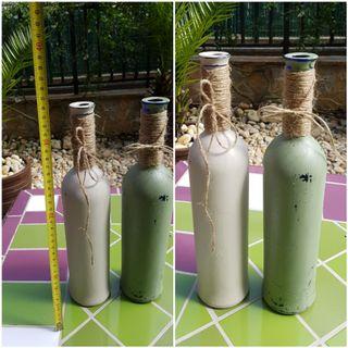 Jarrón cristal botella violetero LOTE 2