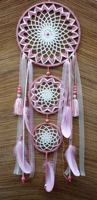 atrapasueños rosa y blanco roto grande 25 x 80 cm