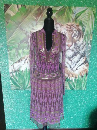 Traje talla M árabe falda camiseta pedrería morado
