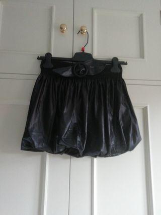 Falda mini minifalda negra talla M cinturón lazo