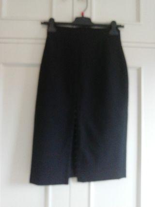 Falda recta negra talla 38 abertura regulable