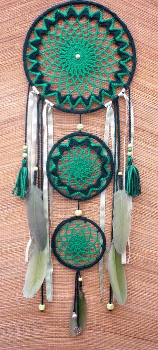 atrapasueños grande 25 x 80 cm - tonos verdes