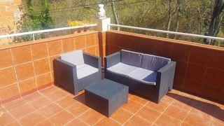 Conjunto muebles jardin terraza banco sofa resina