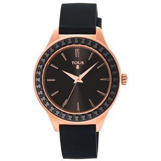 Reloj Tous 900350365 esfera negra, caja rosada