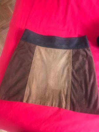 Falda tricolor marrón