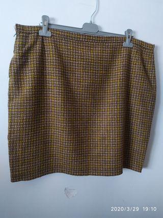 falda tweed marrón